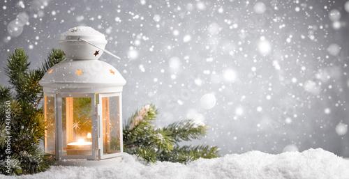 Foto-Doppelrollo - lantern with snowfall (von Li Ding)