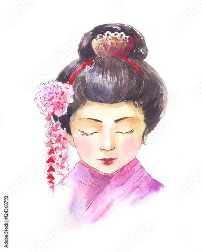 In de dag Art Studio geisha watercolor
