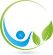 Mensch, Blätter, Heilpraktiker, Logo