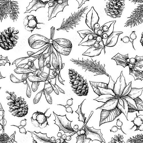 Stoffe zum Nähen Weihnachten botanische Musterdesign. Hand gezeichnet Vektor staatlich