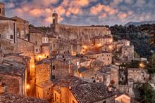 Sorano, Grosseto, Tuscany, Italy: Landscape At Dawn