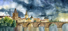 Watercolor Hand Painting Praha And Karlov Most. Illlustration With Tower And The Bridge, View Of The City.