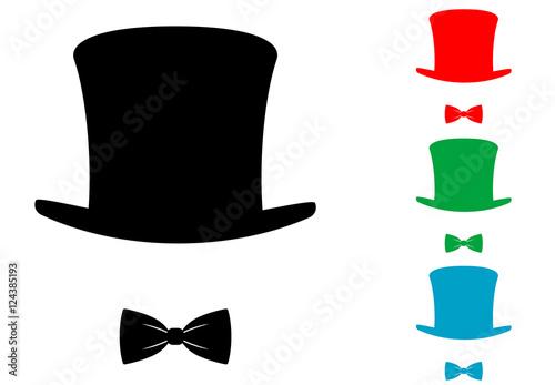 Flacher Ikonenhut mit verschiedenen Farben der Fliege Fototapete