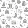 Seamless Halloween silver textured pattern