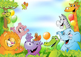 Fototapeta Pokój dzieciecy - Cartoon animals, cheerful background