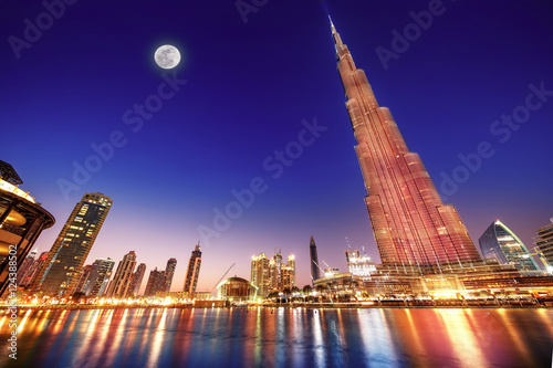 Canvas Print Burj Khalifa night landscape