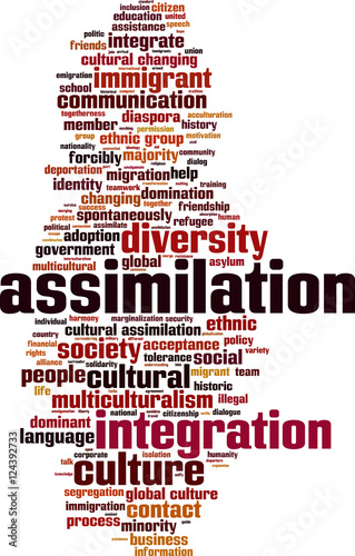Assimilation word cloud concept. Vector illustration Canvas Print