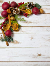 Christmas Potpourri Background With Room For Copy Space On Wood