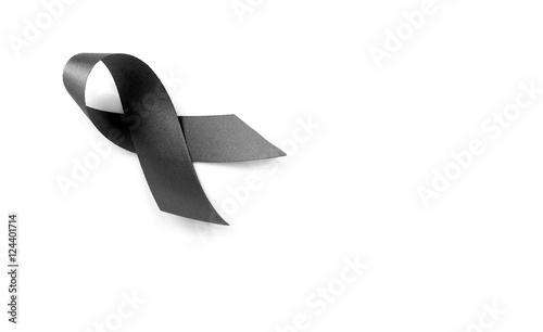 Black Ribbon Symbol For Mourning On White Background Buy This