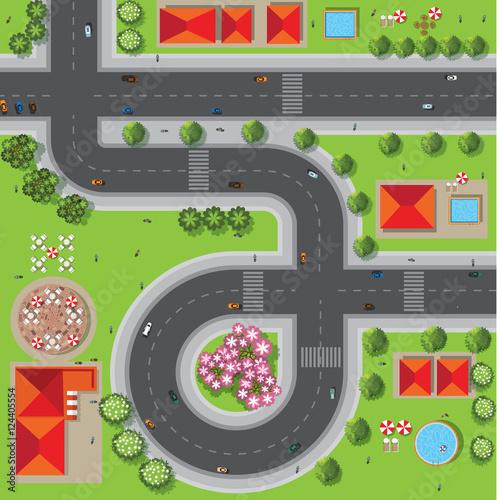Foto op Aluminium Op straat Top view of the city of streets, roads, houses, treetop, vector