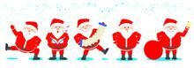 Santa Claus Set. Santa Claus In Various Poses Set Of Christmas.
