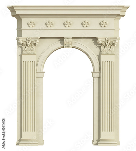 Photo  Front view of a classic arch with Corinthian column