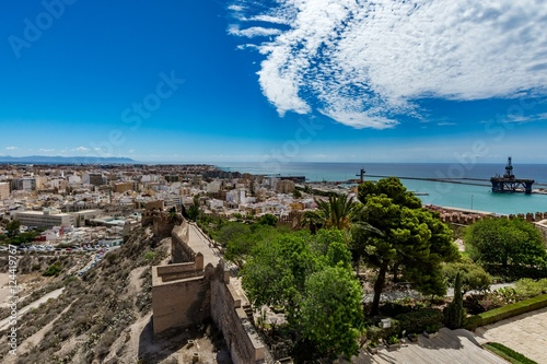 Panoramic cityscape of Almeria with the walls of Alcazaba (Castle), Spain
