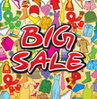 big sale poster design (background with male and female clothes)