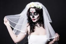 Portrait Of Beautiful Woman Bride With Creative Sugar Skull Make