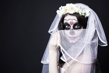 Woman Bride With Creative Sugar Skull Make Up And Bridal Veil Ov