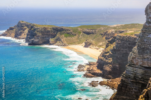 Aerial view of Cape of Good Hope and Dias Beach from lookout of Cape Point Fototapeta
