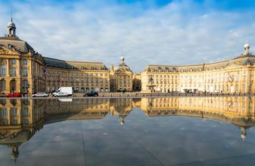 Street view of Place De La Bourse in Bordeaux city, France Europ