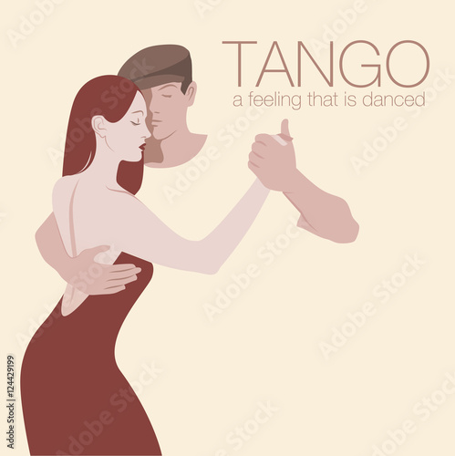 Young couple dancing tango. Space for text. © LaInspiratriz