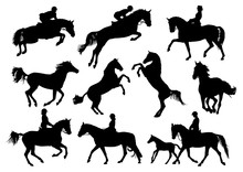 Horse And Rider Vector Silhouettes Set