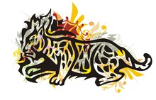 Grunge Tribal Lynx. Colorful Lynx Splashes In The Movement Isolated On A White Background