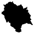 Himachal black map on white background vector