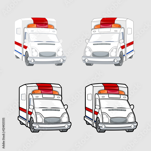 Fotografie, Obraz  Ambulance Vehicles Vector Set