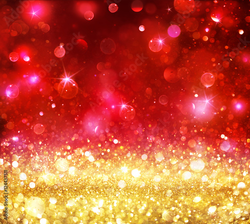 Photo Stands Akt Christmas Bokeh - Golden Glitter With Shining Red Backdrop