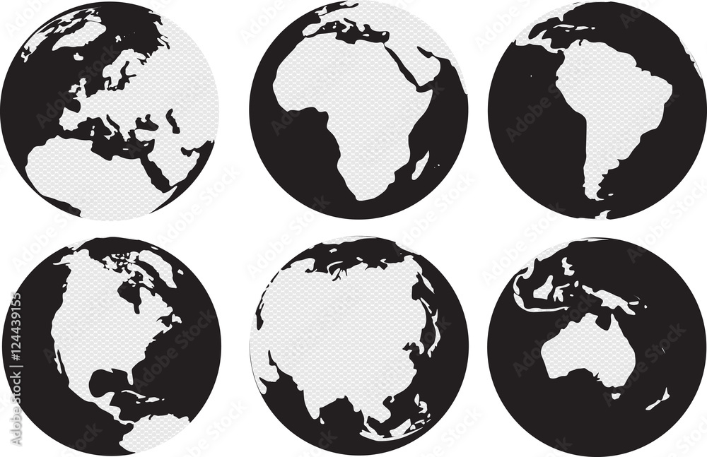 Fototapety, obrazy: World continents map with circles inside