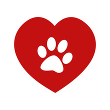 Animal Love Symbol Red Heart And Paw