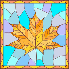 Vector illustration with maple leaf in stained glass style