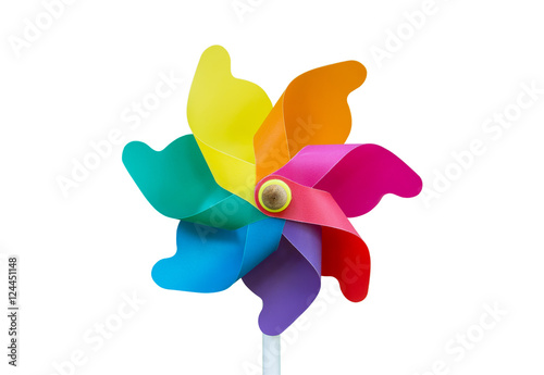 Fotografia, Obraz  Colorful pinwheel toy isolated on white background.Wind turbine