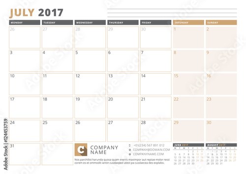 Calendar Template for 2017 Year  July  Business Planner 2017