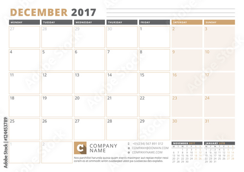 calendar template for 2017 year december business planner 2017