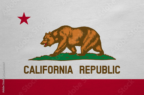 Fotografie, Obraz  Flag of California real detailed fabric texture