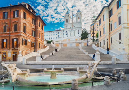 famous Spanish Steps with fountain, Rome, Italy