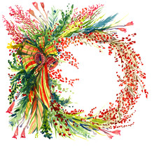 Christmas Decoration With Pine Tree Branches, Berries, Bells And Ribbons, Circle, For Greeting Card,  Hand Painted Watercolor Illustration