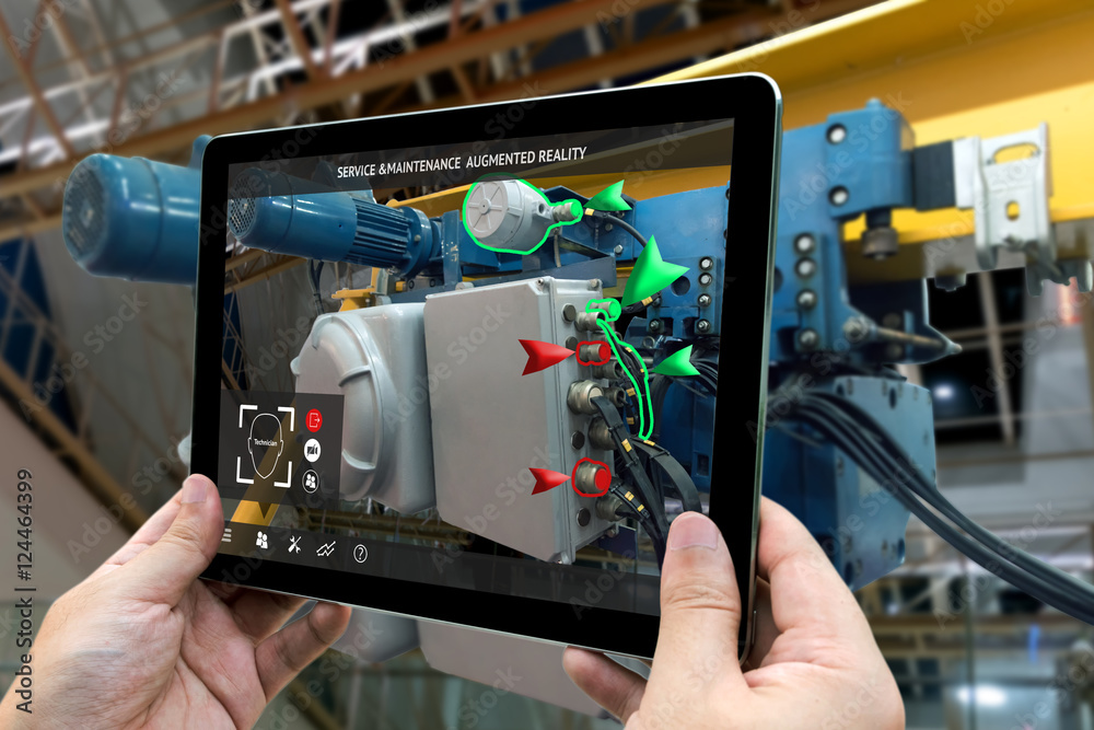 Fototapeta Industrial 4.0 , Augmented reality concept. Hand holding tablet with AR service , maintenance application and calling technician for check destroy part of smart machine in smart factory background