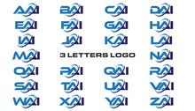 3 Letters Modern Generic Swoosh Logo AAI, BAI, CAI, DAI, EAI, FAI, GAI, HAI,IAI, JAI, KAI, LAI, MAI, NAI, OAI, PAI, QAI, RAI, SAI, TAI, UAI, VAI, WAI, XAI, YAI, ZAI