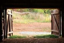 Open Wooden Gate Old Village B...
