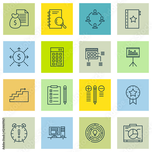 Set Of Project Management Icons On Presentation, Computer