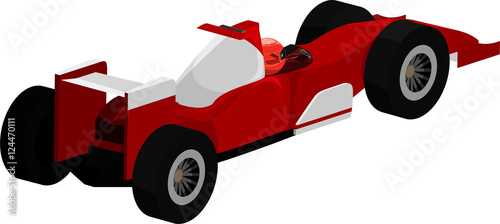 Poster Cars Vector illustration of a red and white open-wheel race car.