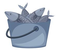Bucket Of Fish On White Background