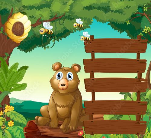 Fotobehang Beren Bear sitting next to wooden signs in jungle