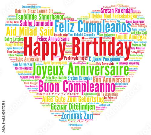 Photo Happy Birthday in different languages