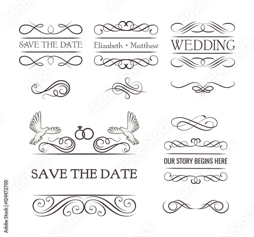 Wedding ornaments decorative elements vintage ribbon frame badge wedding ornaments decorative elements vintage ribbon frame badge vector love element wedding junglespirit Image collections