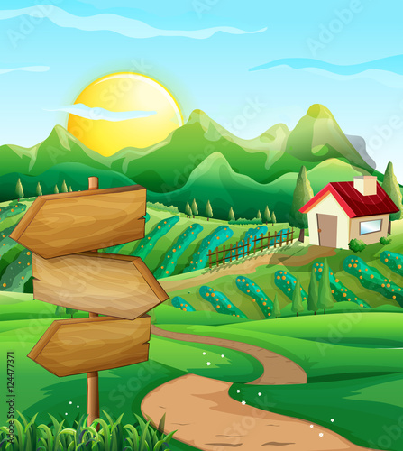 Poster Ranch Scene with vegetable field and farmyard