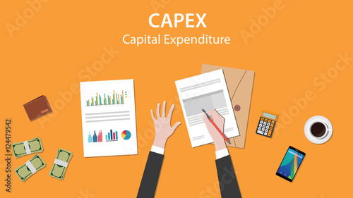 Fototapeta  capex capital expenditure illustration with business man working on paper docume