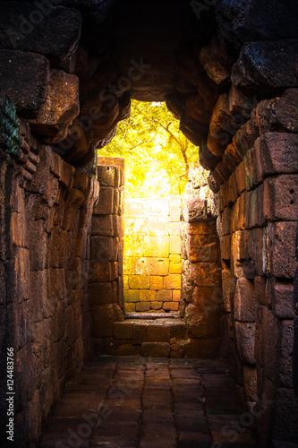 tunnel  golden light in rock castle ancient Tablou Canvas