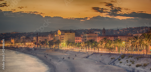 Spoed Foto op Canvas Nice Nice, France: night view of old town, Promenade des Anglais